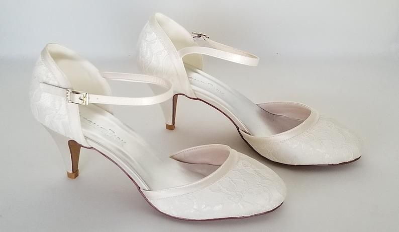 05013e22997 SALE Lace Wedding Shoes with Ankle Strap Lace Bridal Shoes