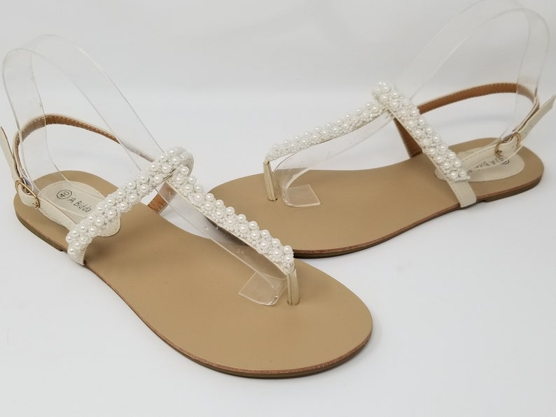 Ivory Wedding Sandals Ivory Bridal Sandals with Pearls