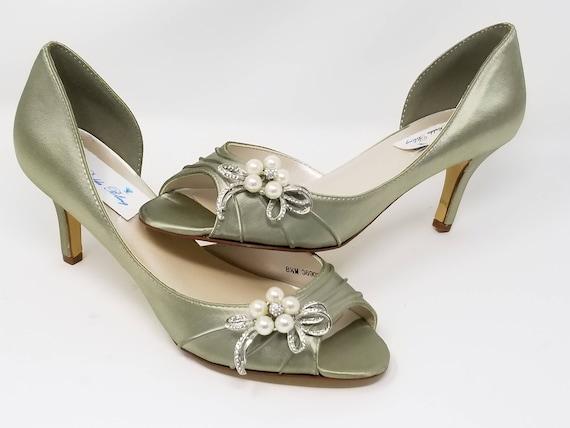 Vendita calda 2019 buona reputazione prezzo competitivo Scarpe da sposa scarpe sposa verde salvia perle e fiocco di cristallo-100  colori aggiuntivi a partire da