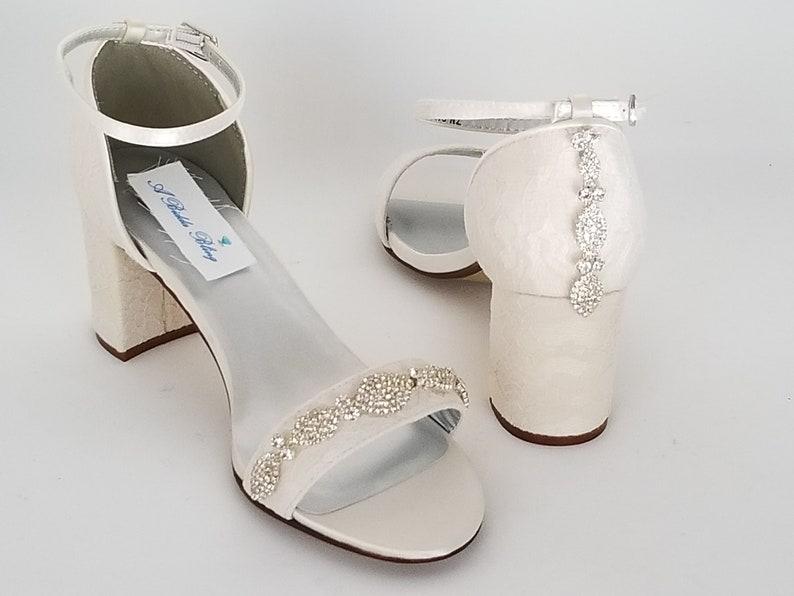 4456122d8 Ivory Bridal Shoes Block Heel Crystal Design Ivory Wedding | Etsy