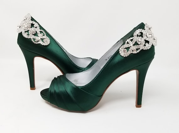 Green Wedding Shoes with Crystal Back