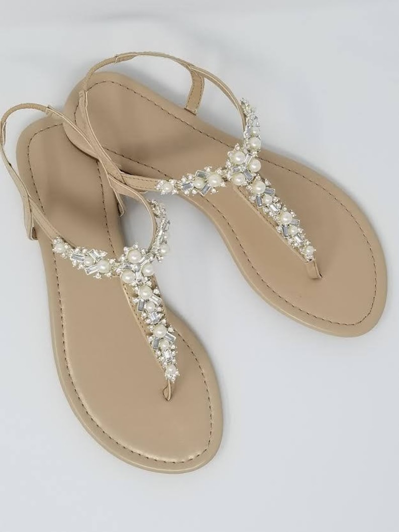 9716ada45c9525 Ivory Wedding Sandals with Pearls and Crystals Ivory Bridal