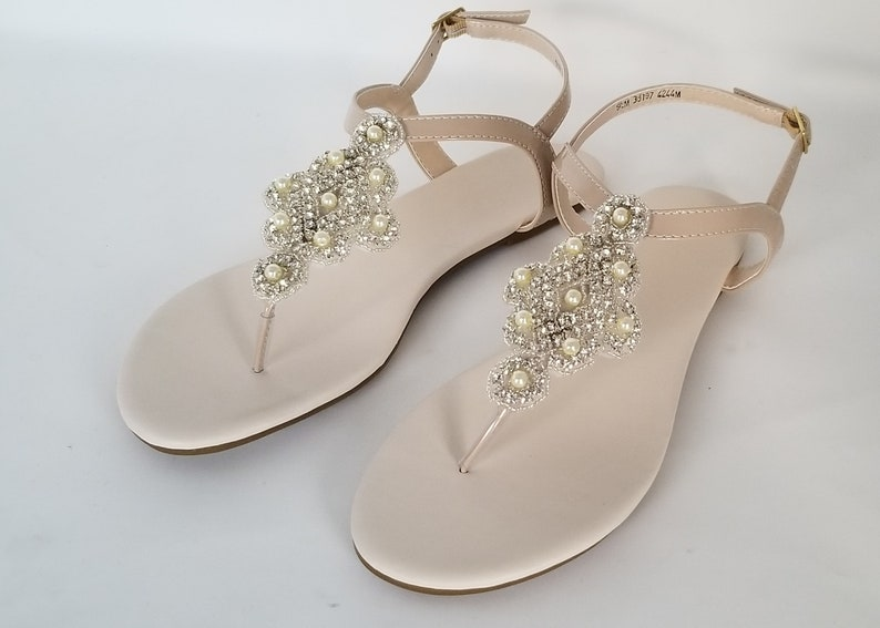 25aae736069bc Ivory Wedding Sandals with Pearls and Crystals Ivory Bridal Sandals  Destination Wedding Sandals Beach Wedding Sandals Beach Wedding Shoes