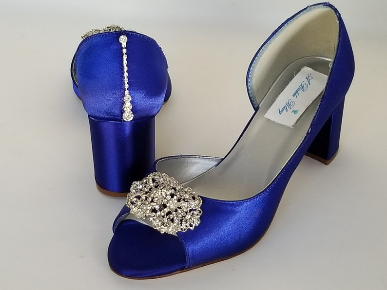 8c0009c6c7 Royal Blue Wedding Shoes Block Heel Vintage Style and Teardrop | Etsy