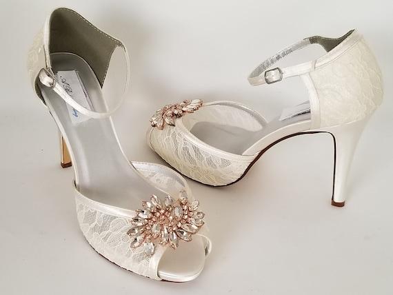 Ivory Lace Wedding Shoes Rose Gold Applique Ivory Lace Bridal Etsy