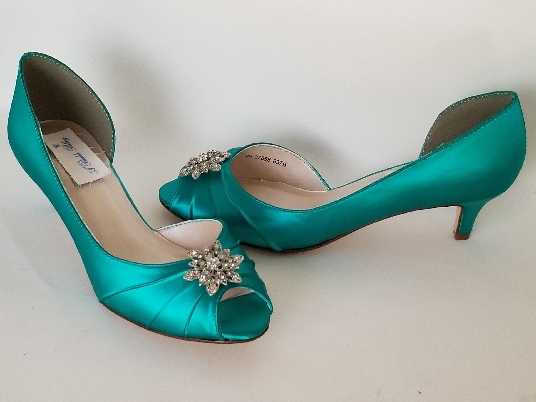 126f042b676 Teal Bridal Shoes with Vintage Style Flower Design Teal