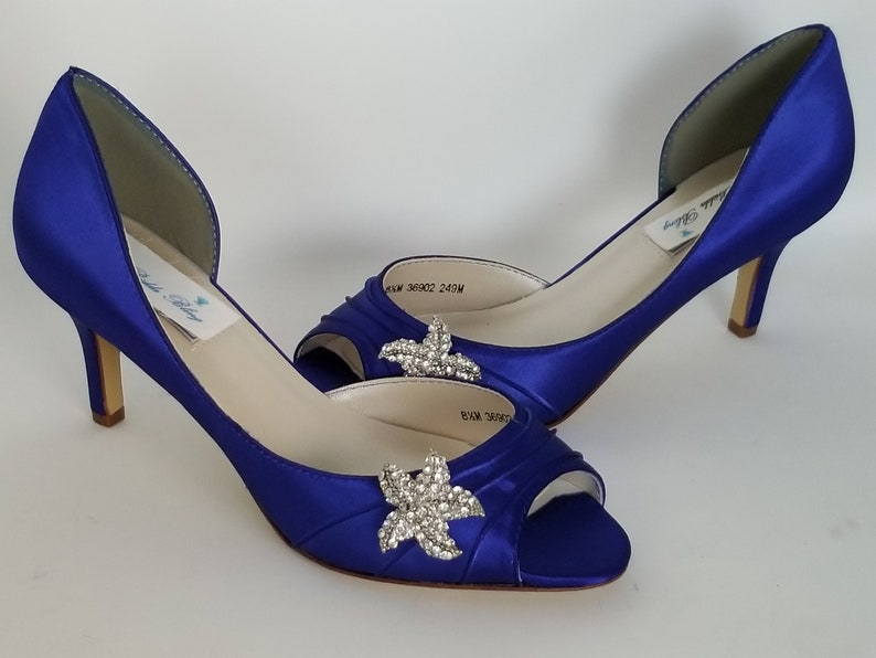 b9a14e74a3f Blue Wedding Shoes Blue Bridal Shoes with Crystal Starfish Brooch Blue  Bridesmaids 100 Color Choices Royal Blue Shoes Cobalt Blue Shoes