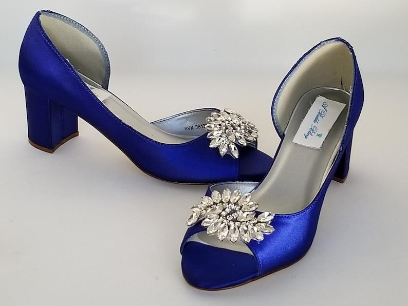 72ce3e66d6a Royal Blue Wedding Shoes Block Heel Sparkling Crystal Applique