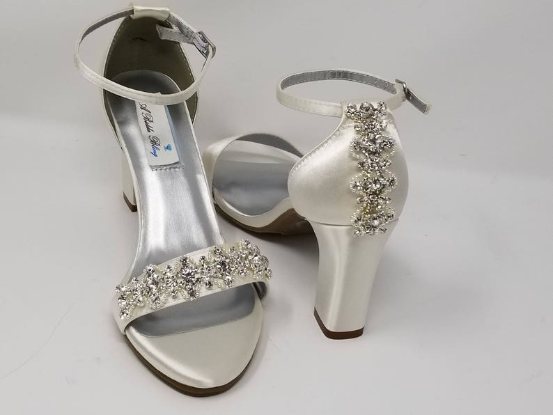250285dce5d582 Chunky Heels Ivory Bridal Sandals Rhinestone Designs Ivory