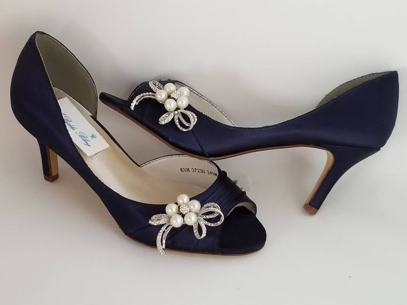 f226992984ba Navy Blue Wedding Shoes Crystal and Pearl Bow Design Navy Blue