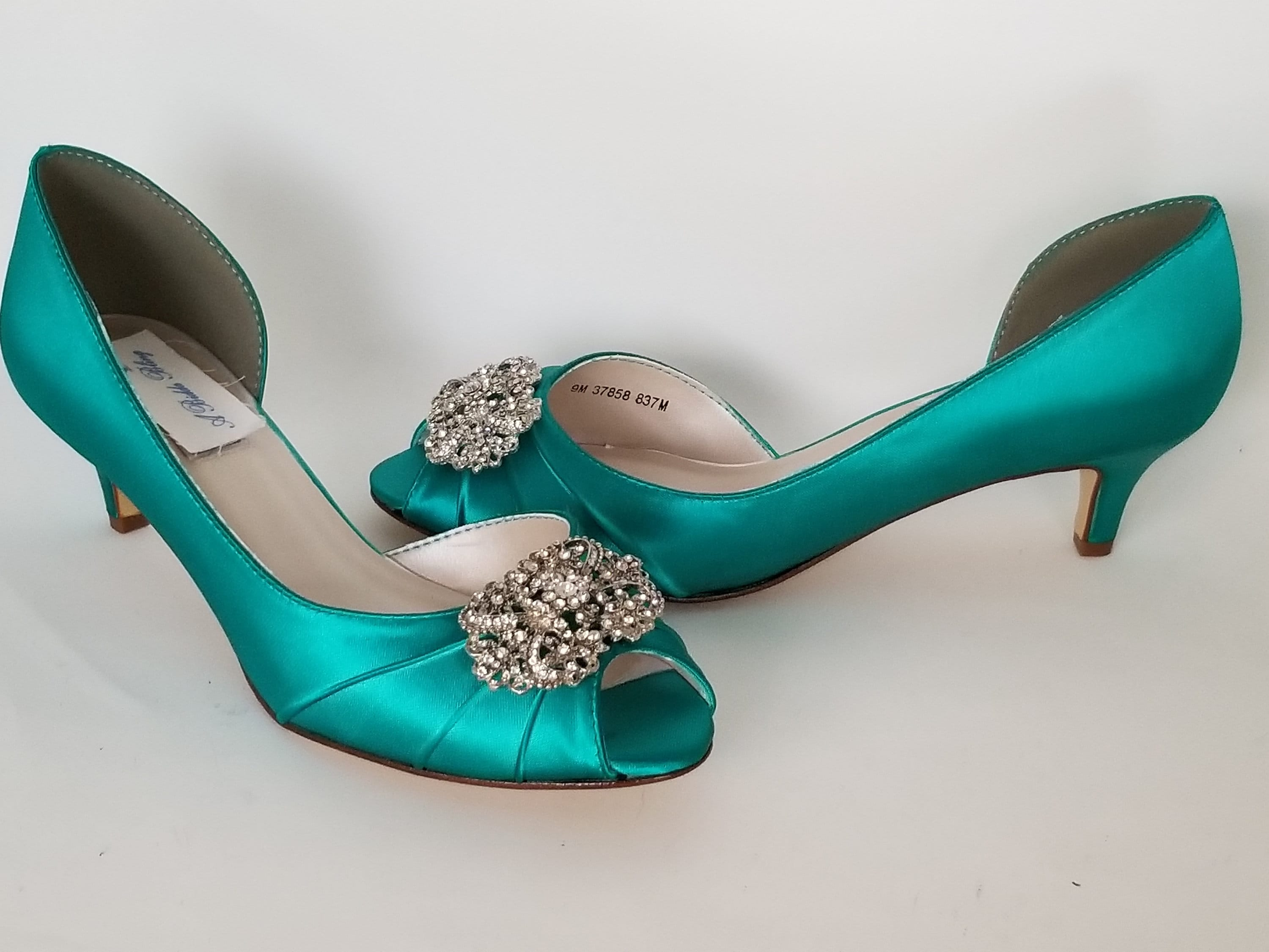 5ce70b9a9e46e Teal Bridal Shoes with Vintage Style Design Teal Wedding Shoes Teal  Bridesmaid Shoes PICK FROM 100 COLORS Different Heel Heights