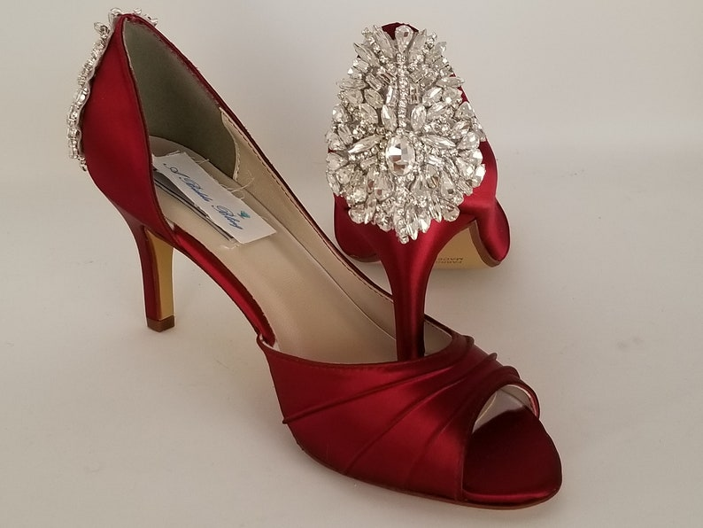 6d335815437 Red Wedding Shoes with Crystal Back Design Red Bridal Shoes Over 100 Custom  Color Choices Red Bridesmaid Shoes