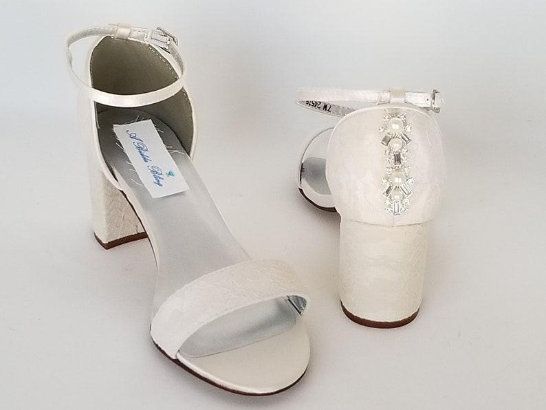 2d7a1e81845 Ivory Bridal Shoes Block Heel Pearl Design Ivory Wedding Shoes