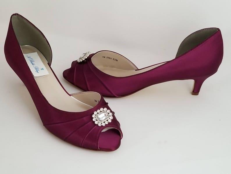 c659365da92e Burgundy Wedding Shoes Square Crystal Burgundy Bridal Shoes   Etsy