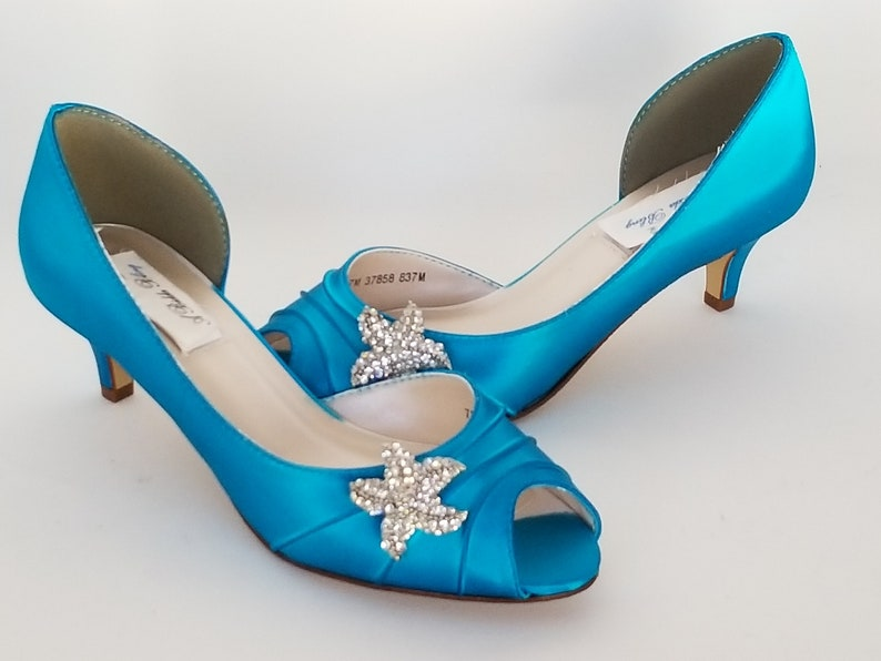 Turquoise Wedding Shoes with Crystal Starfish Turquoise Bridal  72214bf0ae11
