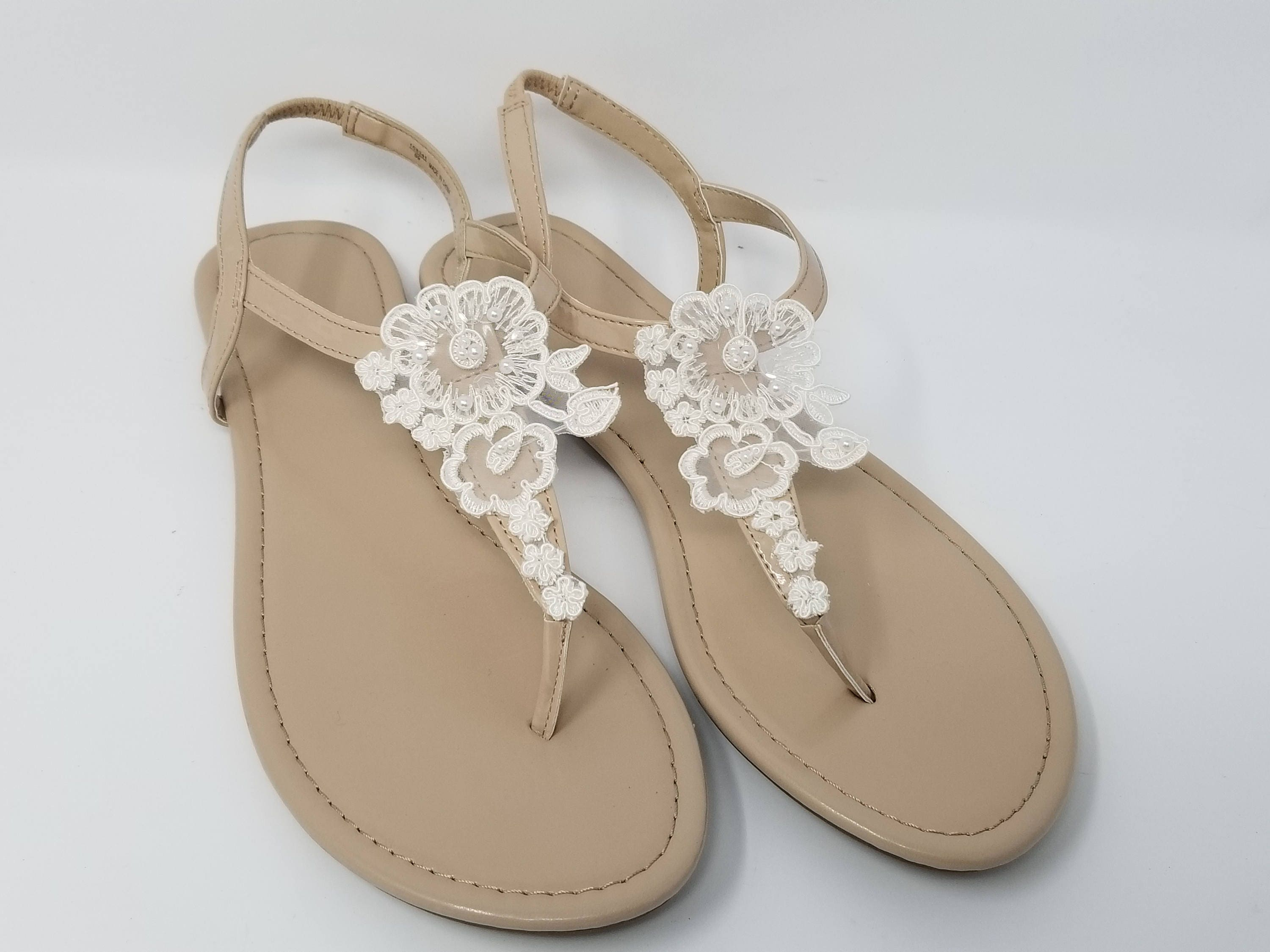 eb2ea524da21 Ivory Wedding Sandals with Lace Flower Ivory Bridal Sandals