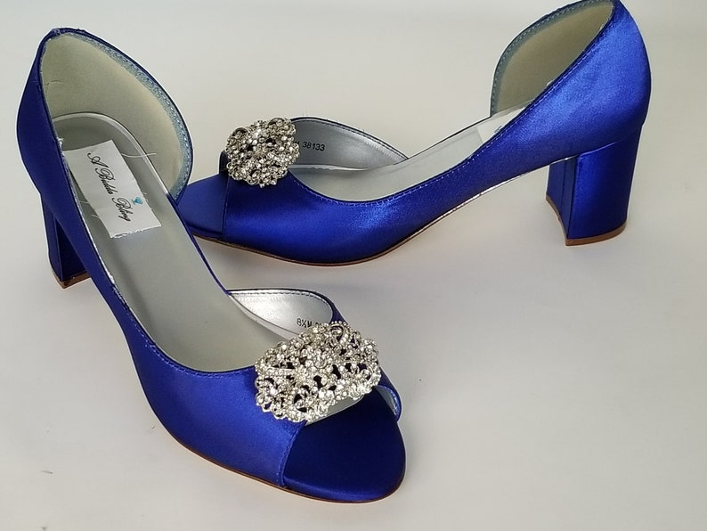 f28005bf5f Royal Blue Wedding Shoes Block Heel Vintage Style Design | Etsy