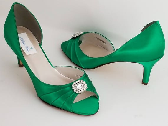Emerald Green Bridal Shoes Emerald Green Wedding Shoes with Crystal Square Design or PICK FROM 100 COLORS Bridesmaid Shoes