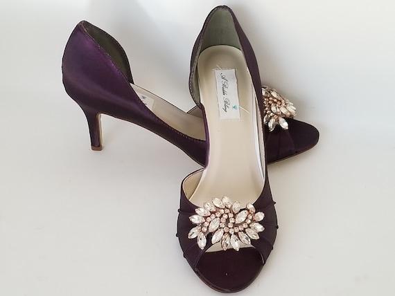 Purple Wedding Shoes Eggplant Bridal Shoes Rose Gold Applique   Etsy