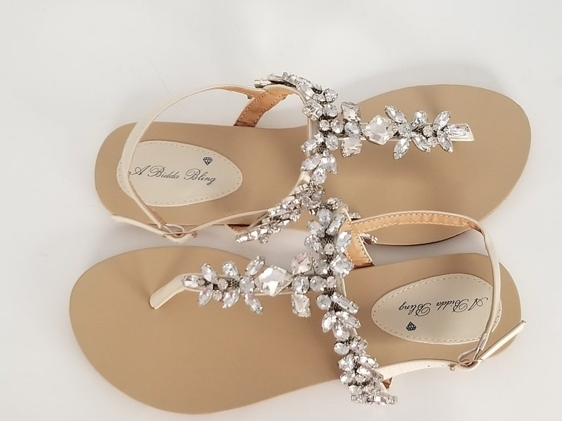 71c4099b2248 Ivory Wedding Sandals with Sparkling Gems Bridal Sandals