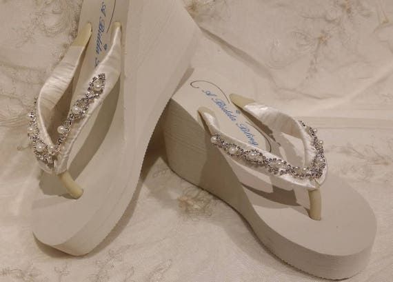 Ivory Flip Sandals Or Pearls Wedding Flops And Rhinestones Beach With White Bridal gvIbym6Yf7