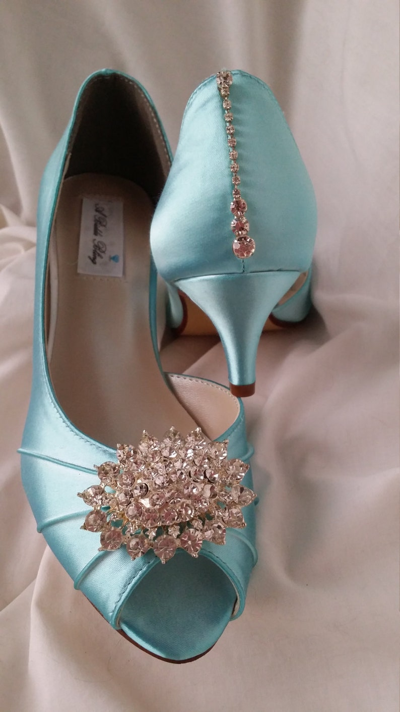 75ef619f47d Blue Wedding Shoes Wedding Shoes with Crystal Oval Brooch Peep
