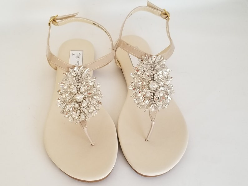 7edab8414be7 Ivory Wedding Sandals Nude Bridal Sandals Ivory Bridal Sandals