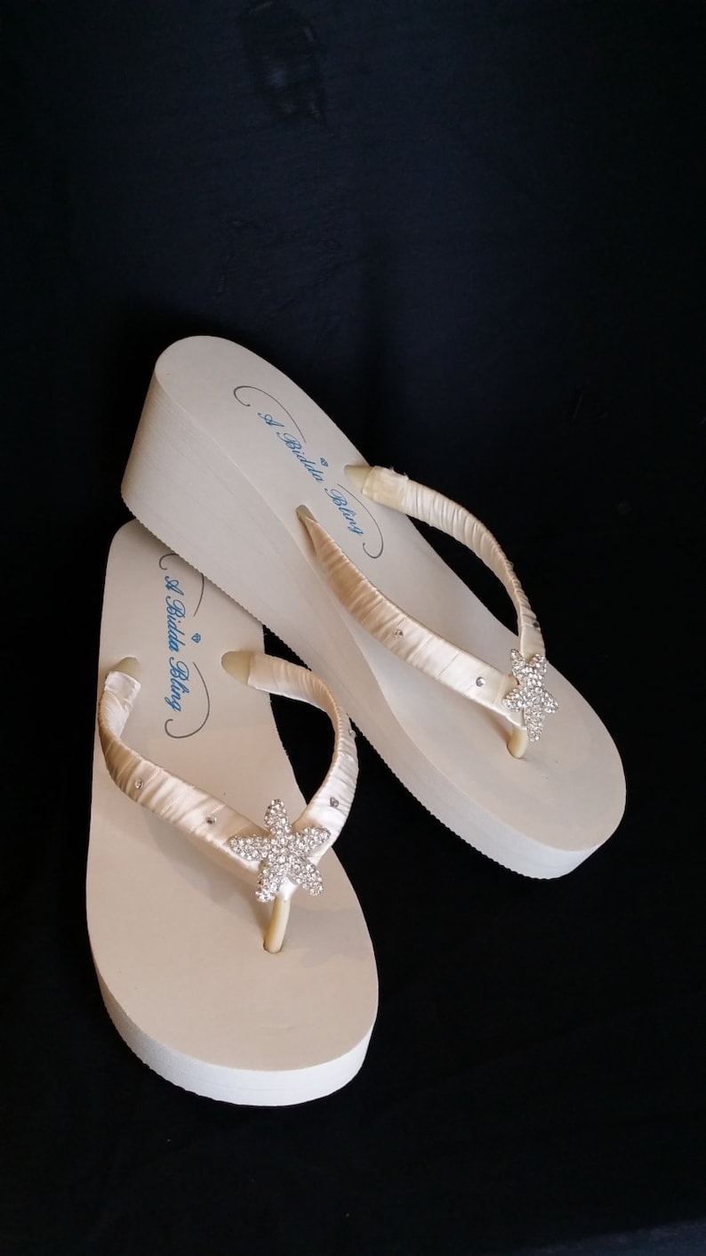 42ae21e77 SALE Ivory Wedge Bridal Flip Flops Sandals with Rhinestone