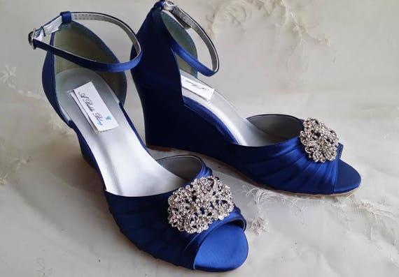 0abc7198 Niebieski niebieski niebieski buty ślubne buty ślubne kliny z   Etsy