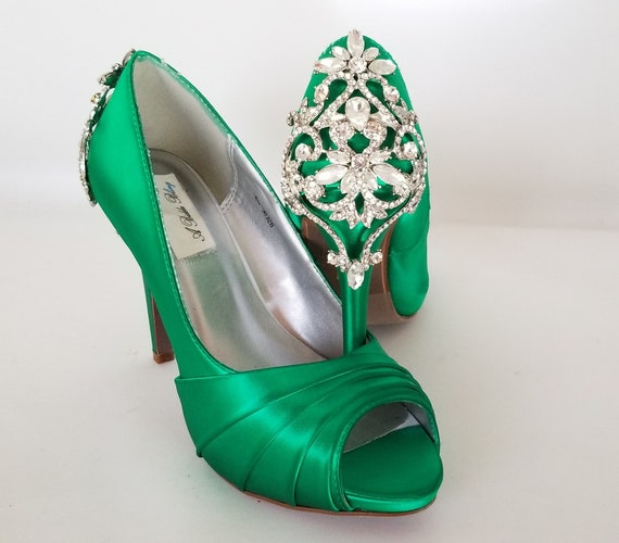 Emerald Green Wedding Shoes Emerald Green Bridal Shoes Crystal Back Design Over 100 Colors Dyeable Green Bridal Shoes