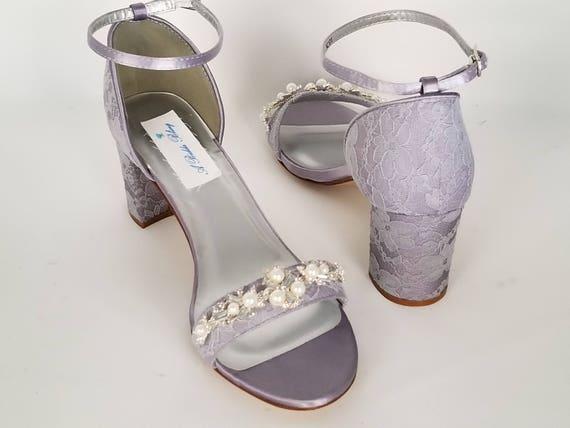 Purple Wedding Shoes Chunky Heels Purple Bridal Shoes Lace  dd9ac2e3f6fd
