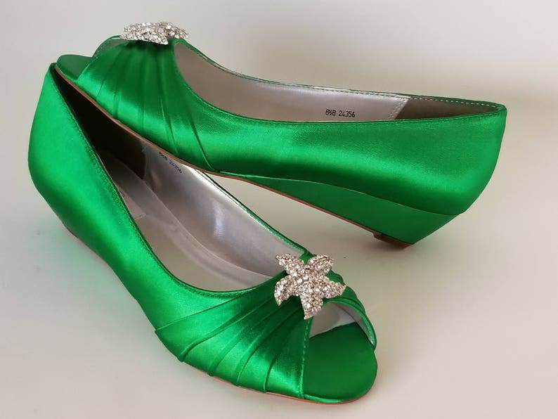 2e7bd82778c Kelly Green Wedding Shoes with Sparkling Crystal Starfish Design Kelly  Green Bridal Shoes - 100 Color Choices - Kelly Green Wedges