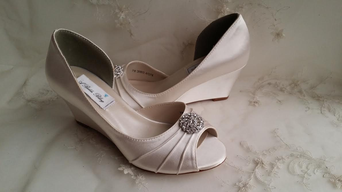 Ivory Wedding Wedge Heels: Ivory Wedding Shoes Wedge Bridal Shoes Wedge Wedding Shoes