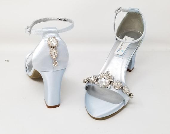 Baby Blue Wedding Shoes Large Crystal
