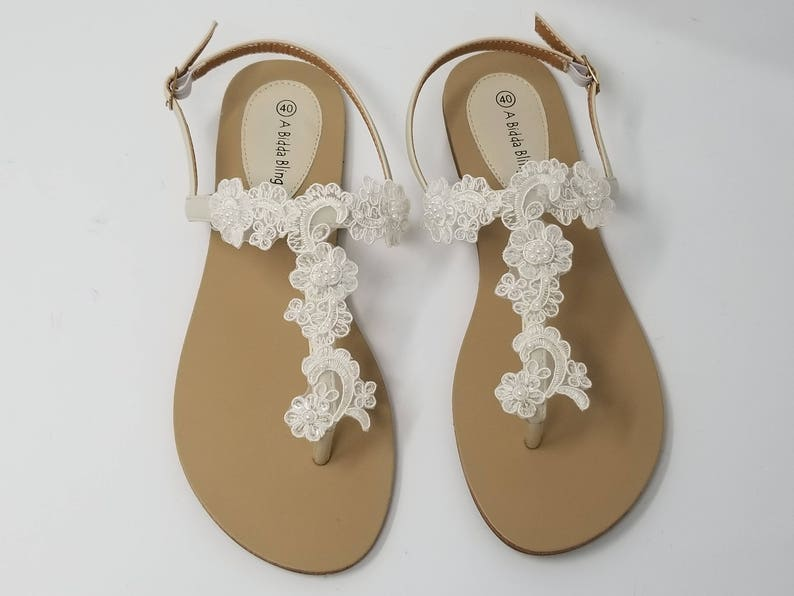 9beede51a4fc0 Ivory Wedding Sandals with Lace and Pearls Ivory Wedding Shoes