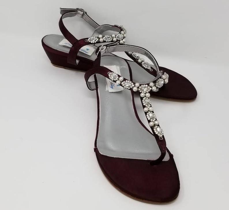 b52478e14d5 Wine Wedding Shoes Wedding Wine Sandals Wine Bridal Sandals