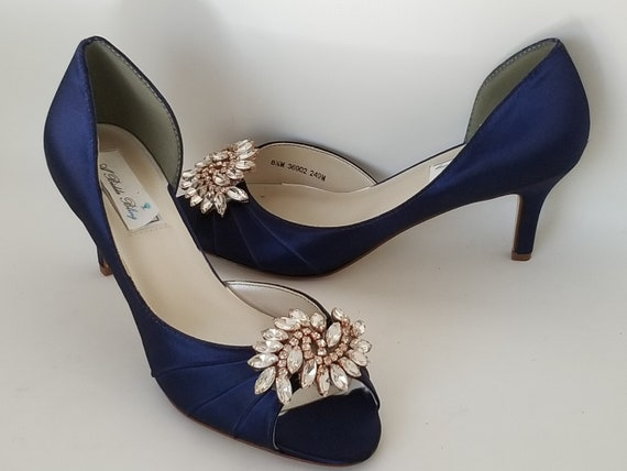 Navy Blue Wedding Shoes Crystal Rose Gold Applique Navy Blue Bridal Shoes Blue Wedding Shoes OVER 100 COLORS Navy Bridesmaid Shoes