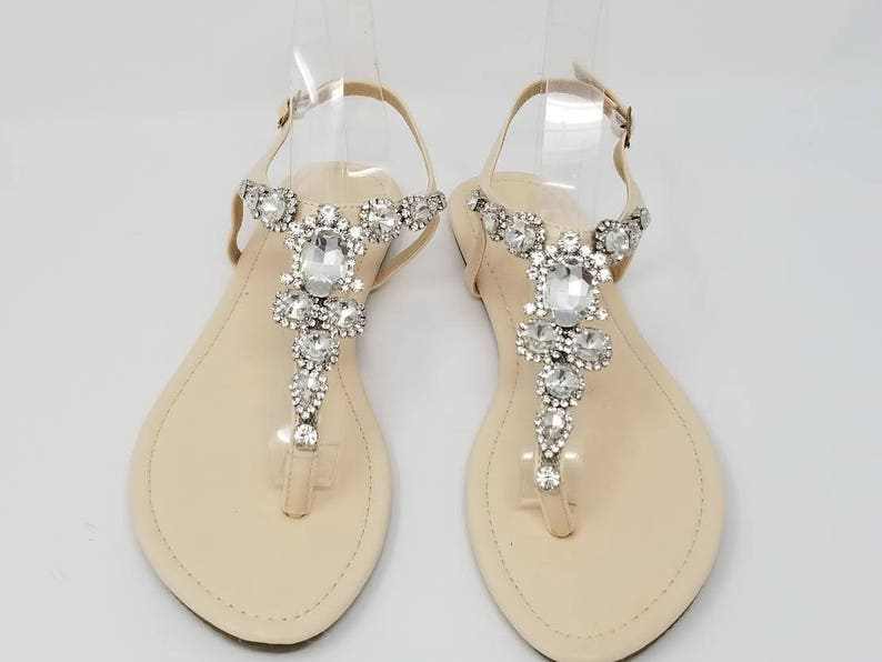 1768bf50fdb4 Ivory Wedding Sandals with Chunky Crystals Ivory Bridal Sandals Destination  Wed... Ivory Wedding Sandals with Chunky Crystals Ivory Bridal Sandals ...