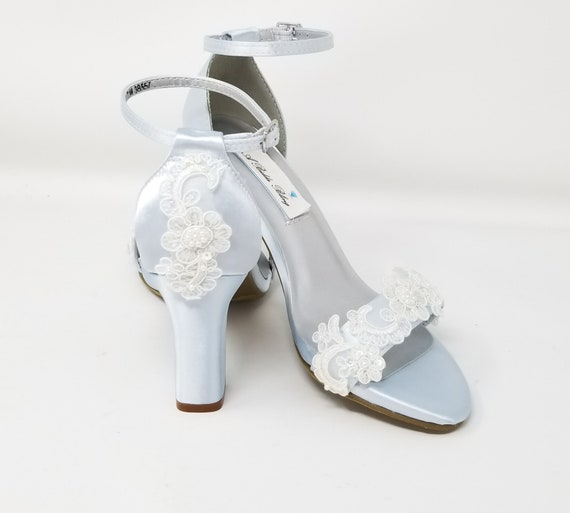 Baby Blue Lace Wedding Shoes Bridal
