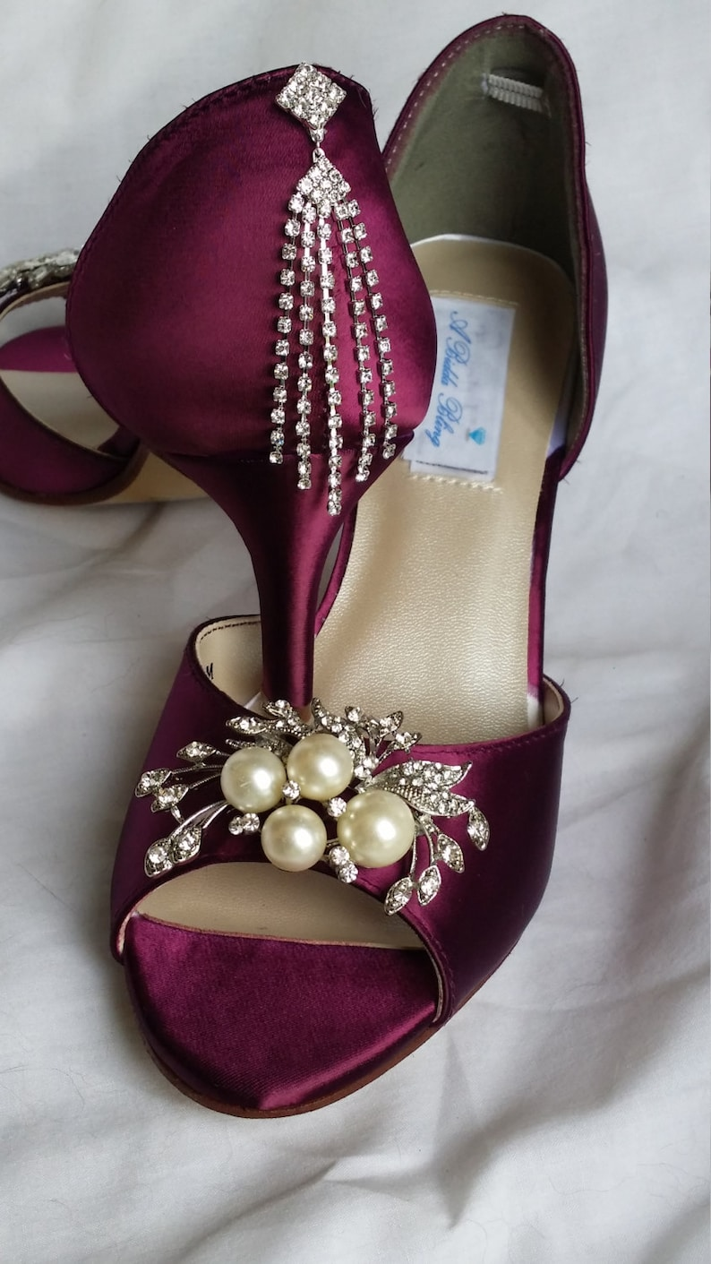 004c9ae7d04 Wedding Shoes Burgundy Bridal Shoes with a Cascading Pearl and