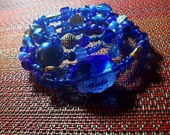 Sassy Sapphire Memory Wire Stack Bracelet