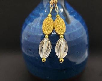 Simple Yet Dazzling Glass & Gold Dangled Earrings