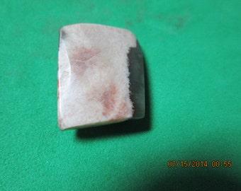 Thomsonite 23.8 Ct Rare MN Thomsonite and Lintonite Pink Green White Beveled Cabachon Cab 22 x 12 x 8 mm