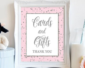 Cards and Gifts Sign, Pink & Silver Glitter Shower Table Sign, Wedding, Baby Shower Sign,  INSTANT PRINTABLE