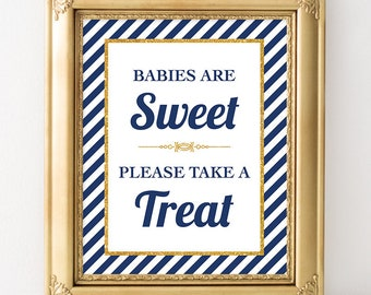 Babies are Sweet Please Take a Treat Shower Sign, Navy & Gold Stripe Baby Shower Favor Sign, INSTANT PRINTABLE