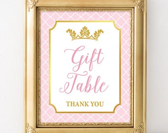 Pink Gift Table Sign, Pink and Gold Baby Shower Table Sign, Princess Baby Girl Shower Sign, INSTANT PRINTABLE