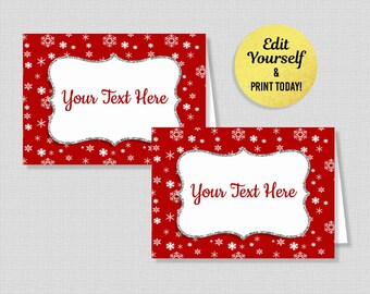Christmas food card etsy editable food tent cards red snowflake food labels buffet signs winter party christmas place cards instant download solutioingenieria Images