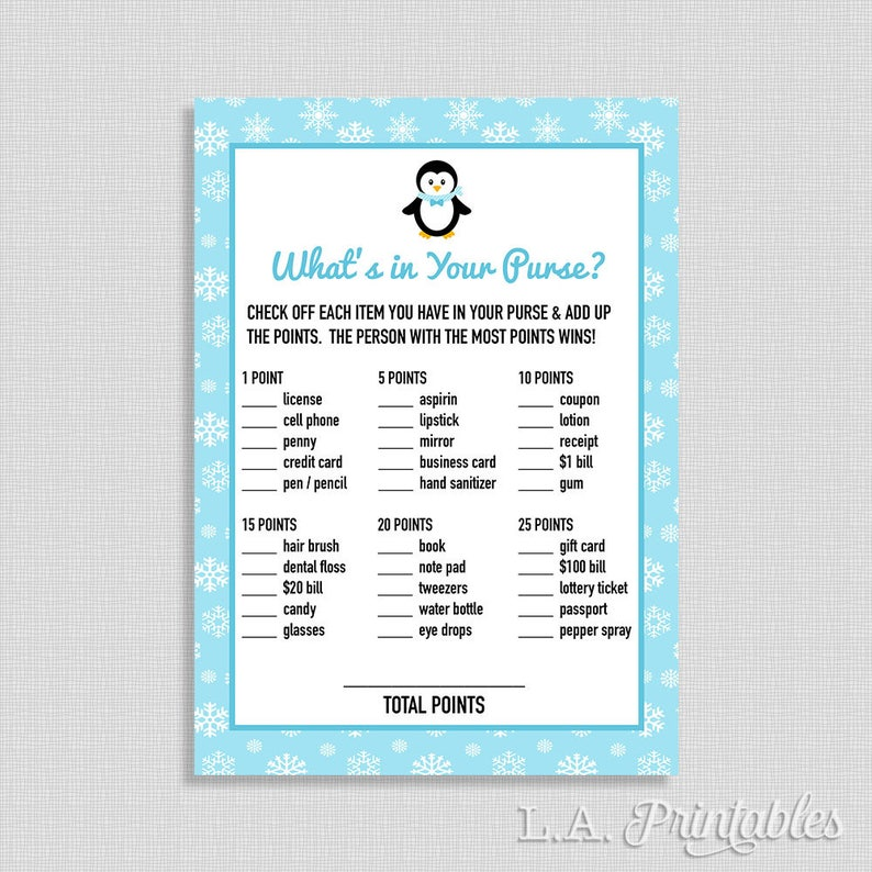 Winter What's In Your Purse Game, Penguin Shower Game, Baby Boy, Blue  Snowflake, DIY Printable, INSTANT DOWNLOAD