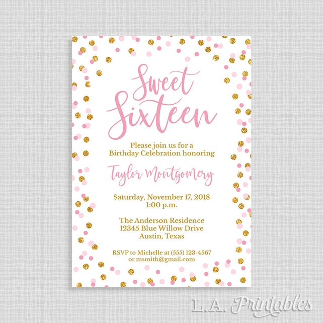 Pink Sweet 16 Birthday Party Invitation 16th Invite Gold Glitter Confetti Sixteen