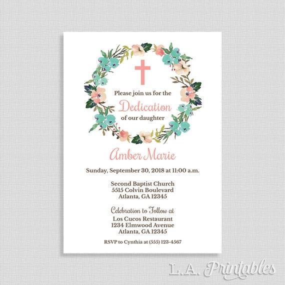 baby girl dedication invitation christian dedication invite etsy